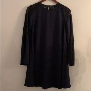 Navy blue a-line dress with lace detailed sleeves